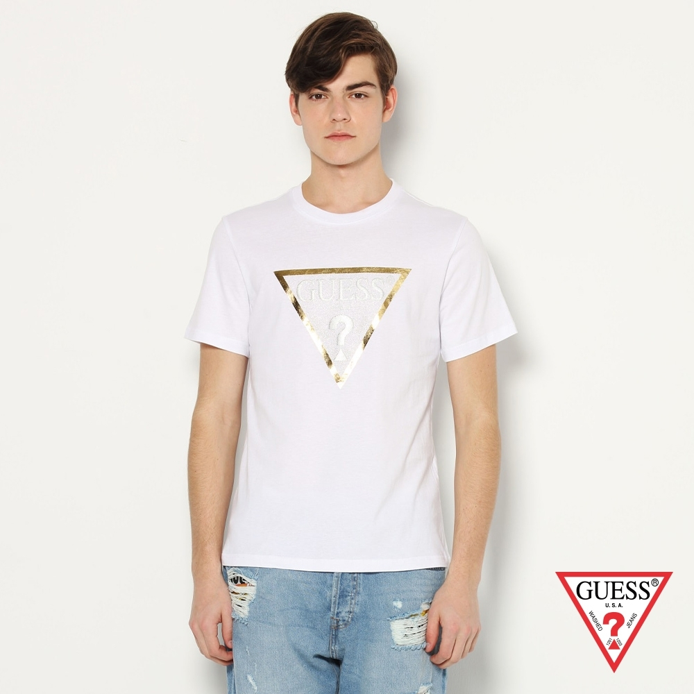 GUESS-男裝-簡約金色倒三角LOGO短T,T恤-白 原價1290