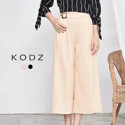 東京著衣-KODZ 歐美側金屬釦顯瘦寬褲-S.M(共二色)