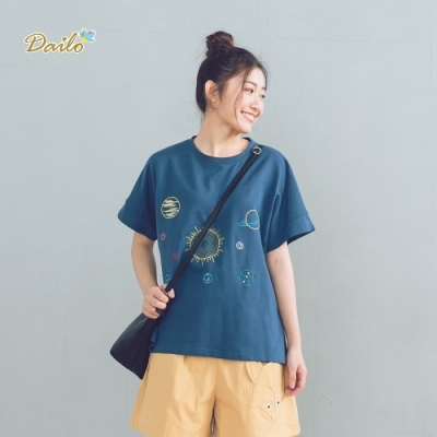 【DAILO】宇宙星球刺繡圖案-上衣(共二色)