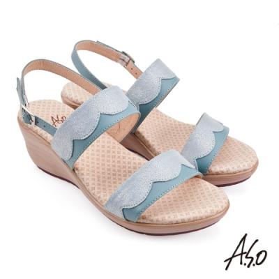 A.S.O 挺麗氣墊金箔牛皮拼接休閒涼鞋-正綠