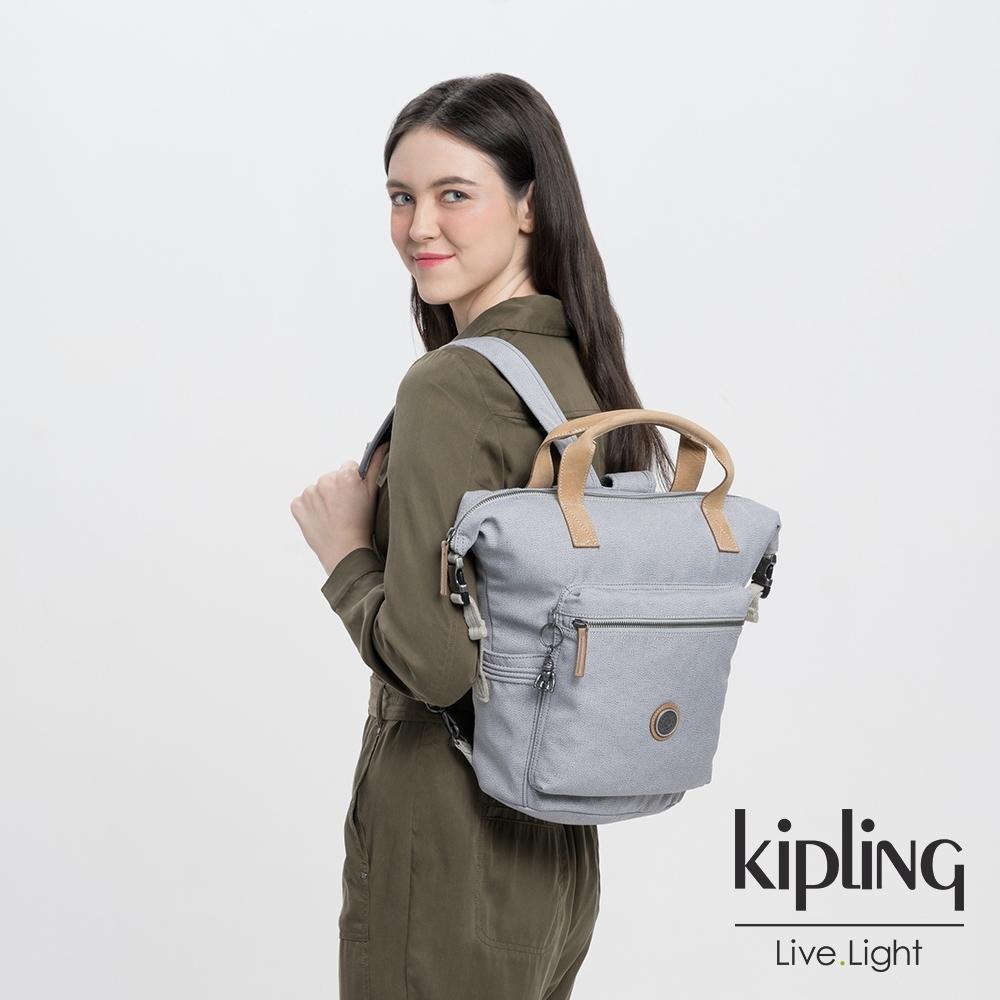 Kipling 低調皮革質感霧灰雙側插扣手提後背兩用包-TSUKI S