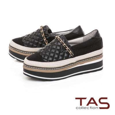TAS 金屬鍊拼接菱格壓紋厚底懶人鞋-注目黑