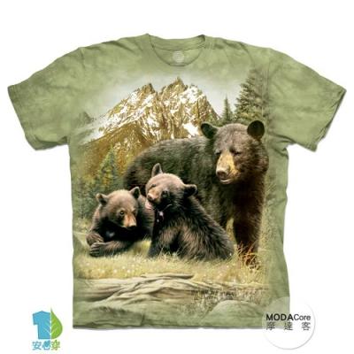 摩達客-預購-美國進口The Mountain 黑熊家族 兒童版純棉環保藝術中性短袖T恤