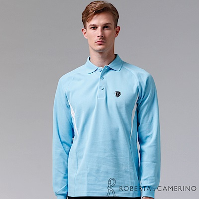 ROBERTA諾貝達 台灣製 運動風尚 環保材質 長袖POLO棉衫  淺藍