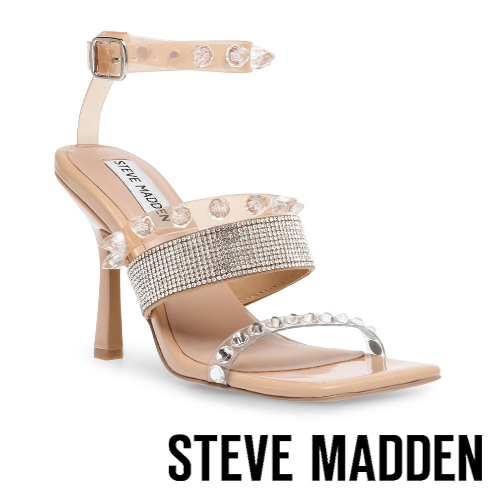 STEVE MADDEN-LIGHTNING 奢華水鑽繞踝高跟涼鞋-米杏色
