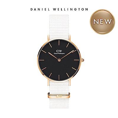 DW 手錶 官方旗艦店 32mm玫瑰金框 Classic Petite 純淨白x黑織紋手錶