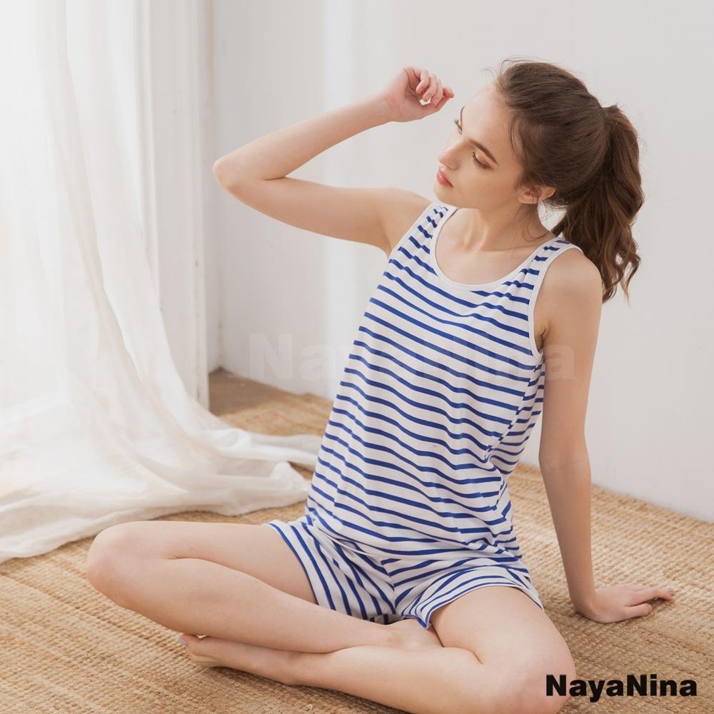 Naya Nina 親膚透氣精梳絲柔棉無鋼圈BRA罩杯背心套裝居家服睡衣(藍條紋)