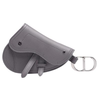 Dior Saddle系列經典粒面小牛皮暗釦鑰匙圈/零錢包(灰色)