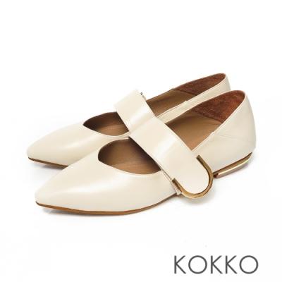 KOKKO無著感方頭柔軟綿羊皮彎折2way跟鞋椰奶白