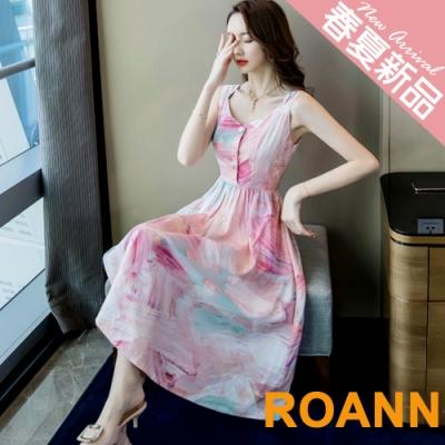 休閒風V領渲染印花細肩帶長款洋裝 (花色)-ROANN