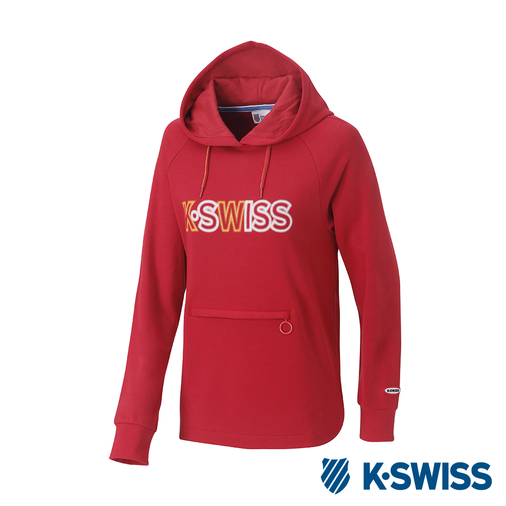 K-SWISS Long Hooded Sweat Shirts女長版連帽上衣-女-紅