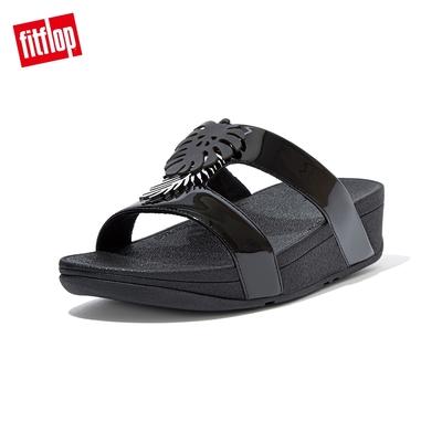 FitFlop LOTTIE JUNGLE LEAF SLIDES 熱帶葉飾H型雙帶涼鞋-女(靓黑色)