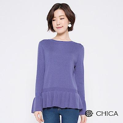 CHICA 清新甜美荷葉襬圓領針織衫(2色)