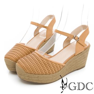 GDC-HOT!人氣NO.1夏日編織日系真皮楔型涼鞋-卡其色