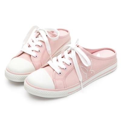 PLAYBOY活力甜心休閒綁帶穆勒鞋-粉-Y622399