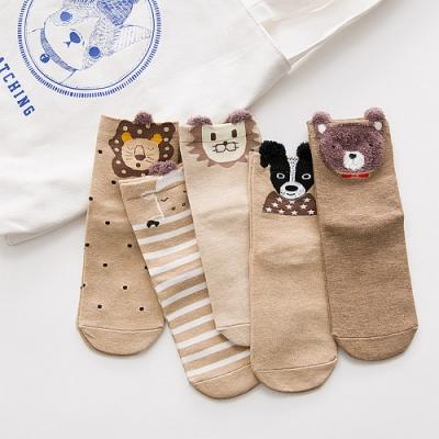 Redberry 秋冬卡通造型女襪 俏皮可愛立體中筒襪 單款5入 8款可選