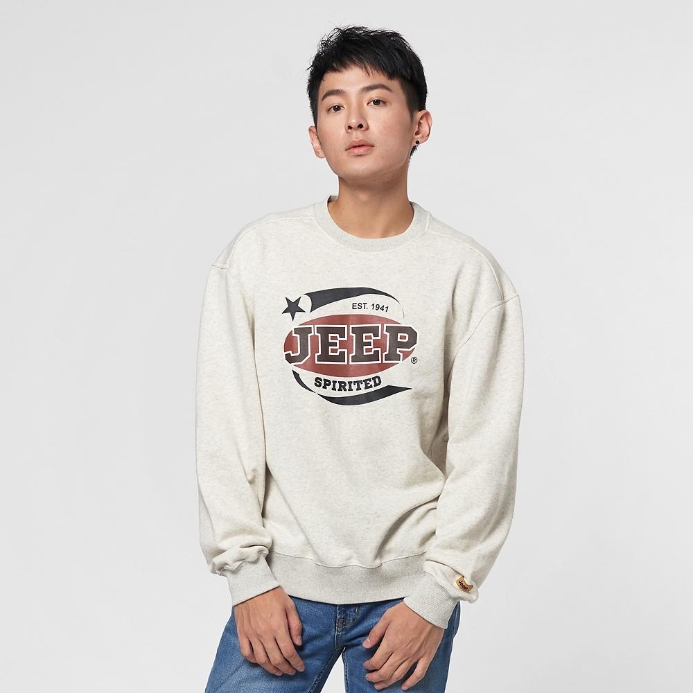 Jeep 男裝 復古LOGO圖騰長袖T恤-米白色