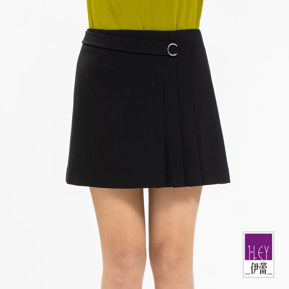 ILEY伊蕾 都會感百搭壓褶造型褲裙(黑)