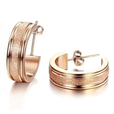 I-Shine-心願-西德鋼-圓圈磨砂18K玫瑰金鈦鋼耳環DA01