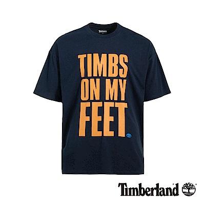 Timberland 男款深寶石藍字母印花T恤 A1YEM