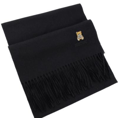 MOSCHINO 刺繡小熊圖樣羊毛圍巾(黑)