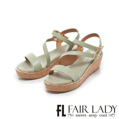 FAIR LADY Early Summer一字繞帶軟木楔型厚底涼鞋 綠
