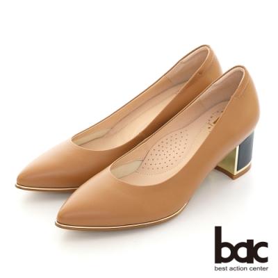 【bac】尖頭金屬裝飾配色粗跟高跟鞋-棕