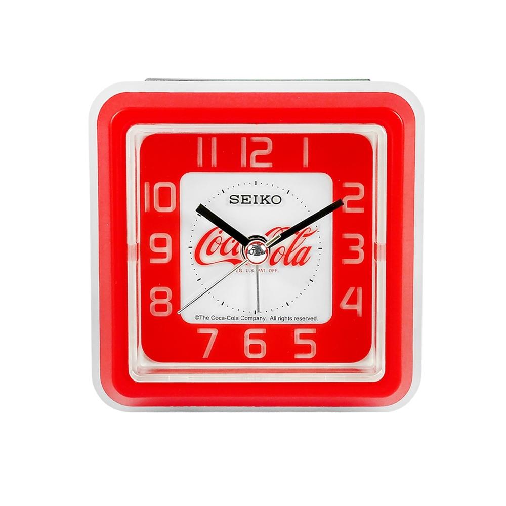 SEIKO 精工 / 可口可樂 滑動式秒針 靜音 LED照明 貪睡鬧鈴 方形鬧鐘-紅色
