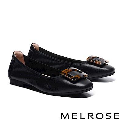 低跟鞋 MELROSE 時尚復古豹紋方釦全真皮低跟鞋-黑