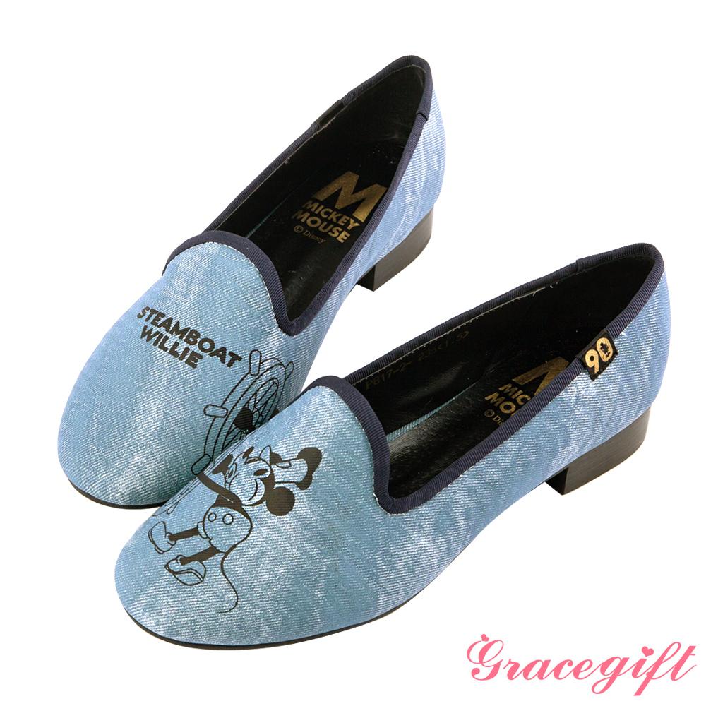 Disney collection by grace gift經典年代復古樂福鞋 牛仔