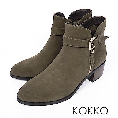 KOKKO-歲月如歌飾扣簡約粗跟短靴-知性綠
