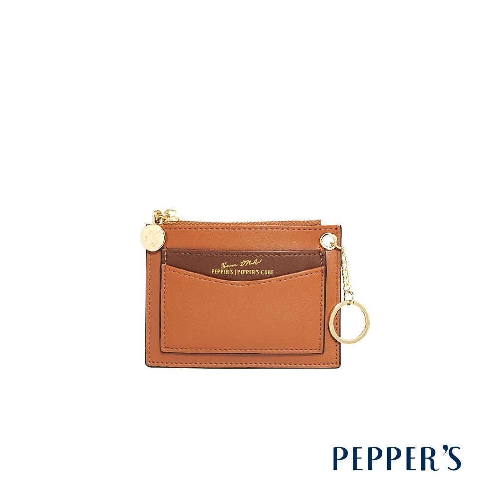 PEPPER'S Callie 牛皮撞色卡夾零錢包 - 淺棕