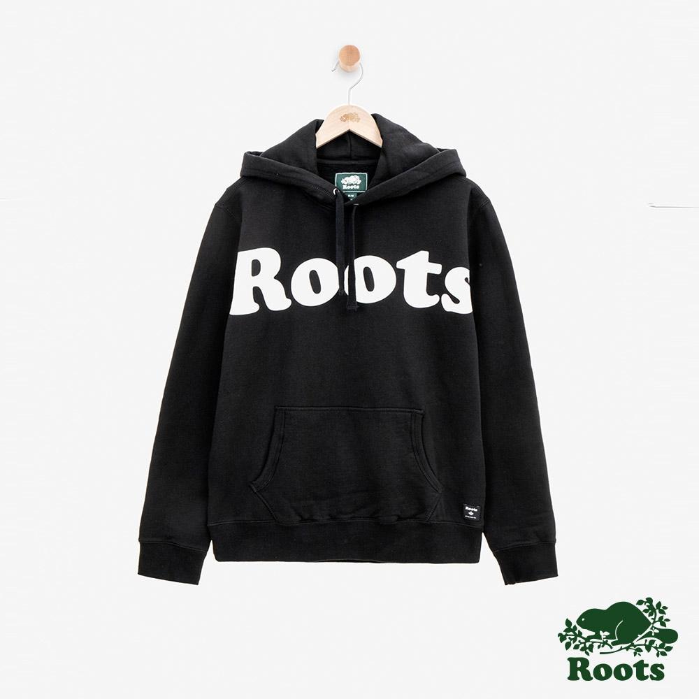 ROOTS 男裝 -周年系列刷毛連帽上衣-黑色