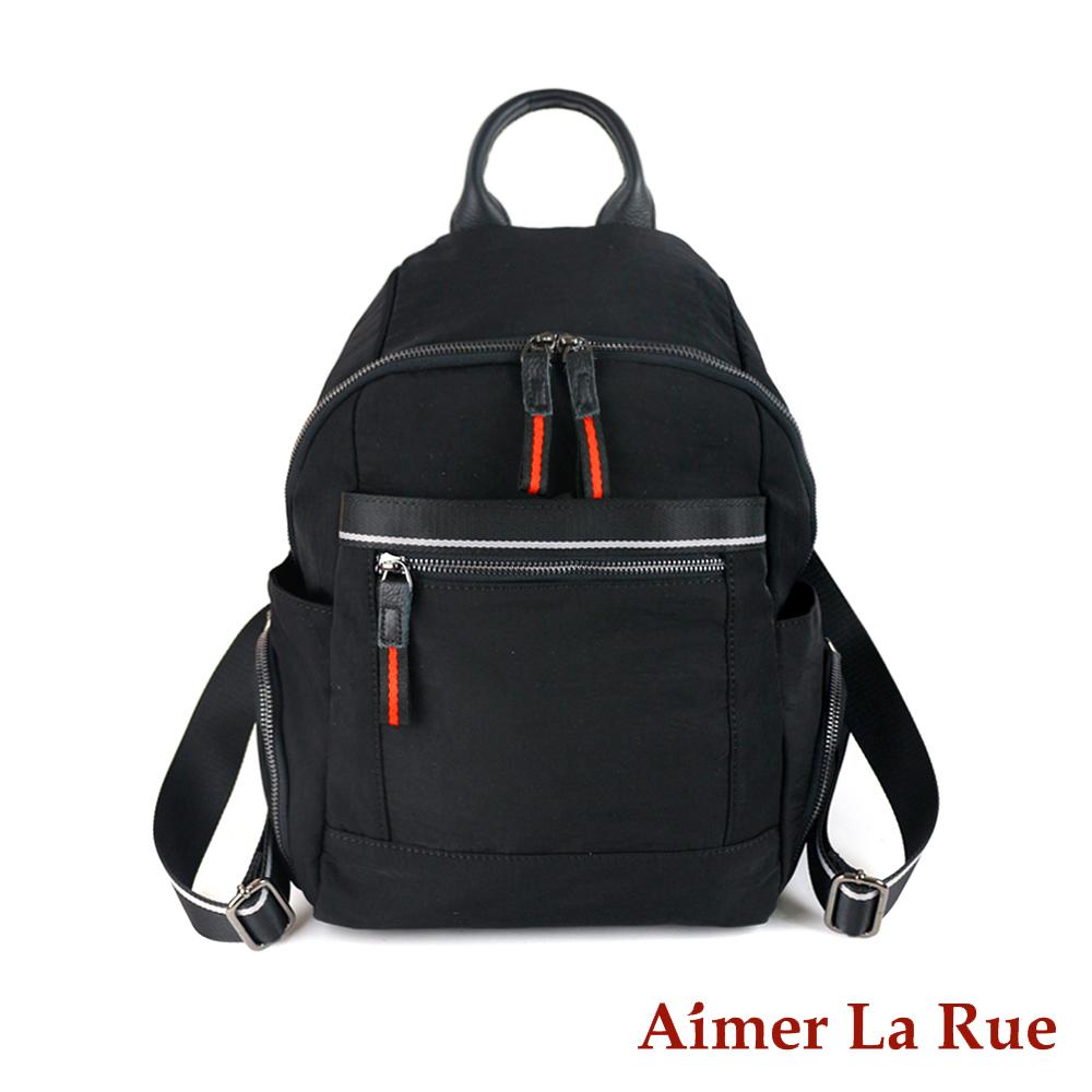 Aimer La Rue 多袋真皮水洗尼龍後背包-黑色(快)