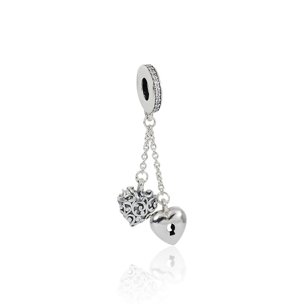 Pandora 潘朵拉  魅力鎖匙雙心鑲鋯 垂墜純銀墜飾