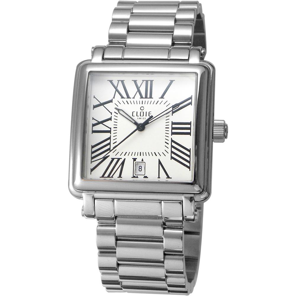 CLOIE 相愛在羅馬 時尚方型男錶-銀x白/35mm