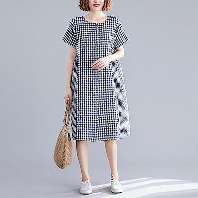 初色  棉麻寬版連身裙-格紋-(XL-2XL可選)