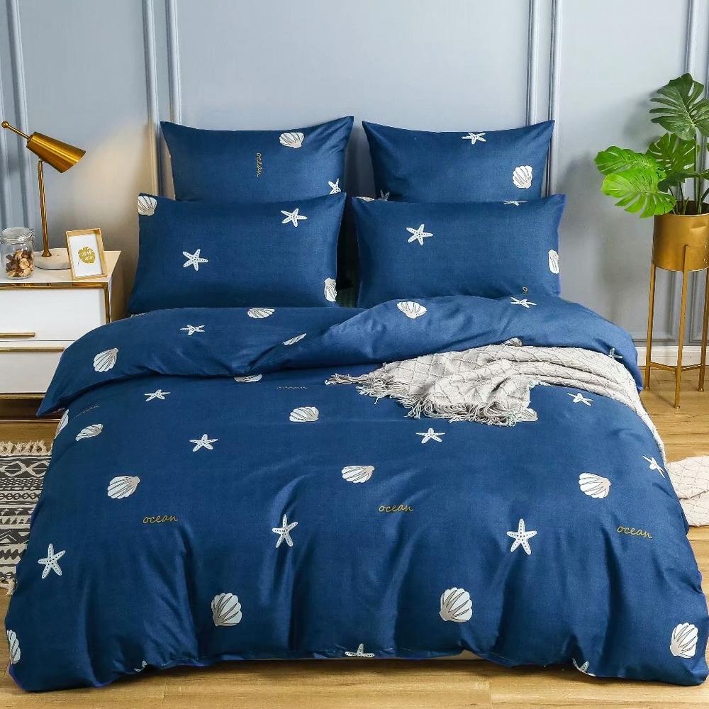 A-ONE 雪紡棉  雙人加大床包/枕套三件組-海貝嬉戲