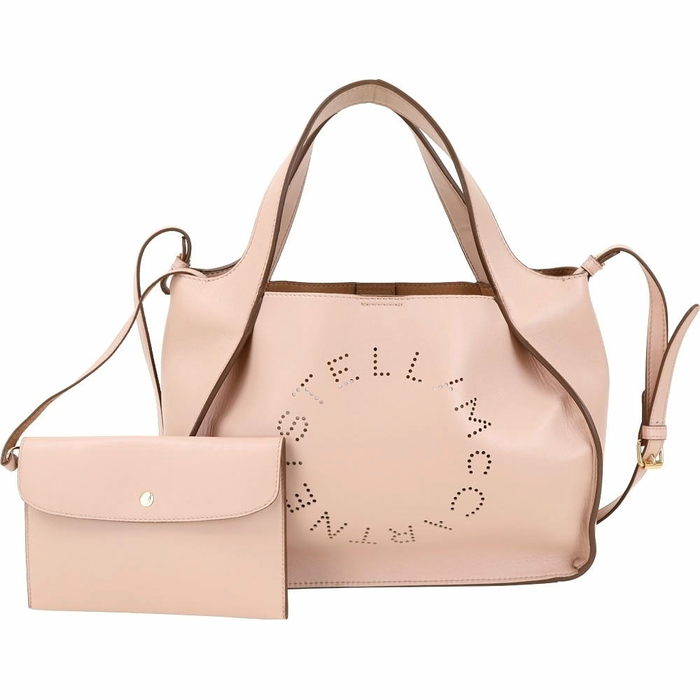Stella McCartney 穿孔字母皮革手提/肩背托特包(粉膚色)