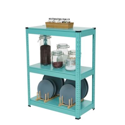樂嫚妮 落地三層角鋼架收納架/置物架-免螺絲工具組裝-60X30X80cm-藍