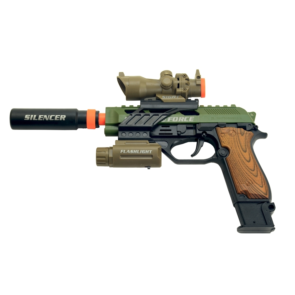 《M93R》狙擊消音器造型燈光音效後定功能電動玩具槍