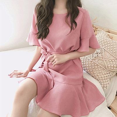 荷葉袖魚尾連身洋裝 粉色(贈綁帶)-mini嚴選