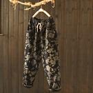 純棉印花抽繩鬆緊腰加絨寬鬆加厚長褲-設計所在