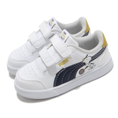 Puma 休閒鞋 Peanuts Shuffle 史努比 童鞋 基本款 簡約 魔鬼氈 舒適 小童 穿搭 白 黑 37574101