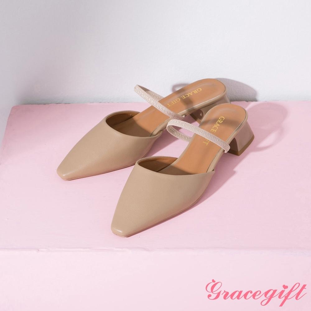Grace gift-一字繫帶後空中跟鞋 杏