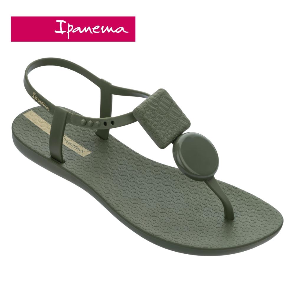 Ipanema CLASS ELEGANT經典幾何裝飾T字涼鞋-綠