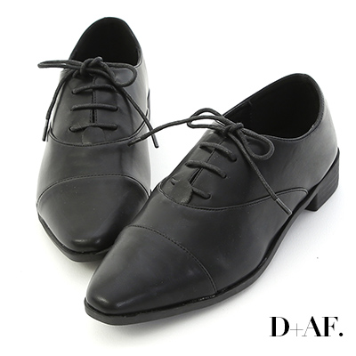 D+AF 文青品味.尖頭綁帶平底牛津鞋*黑