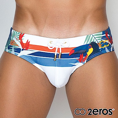 2EROS 熱帶鳥語型男三角泳褲(白色)