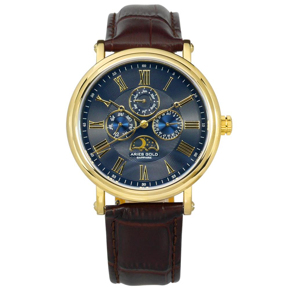 ARIES GOLD 日月相錶 羅馬時標 藍寶石水晶玻璃 真皮手錶-藍x金x咖啡/43mm
