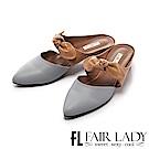Fair Lady 有一種喜歡是早秋-俏麗蝴蝶結撞色粗跟鞋 藍
